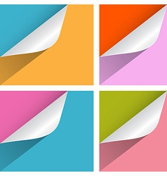 Colorful Paper Bent Corners Set vector