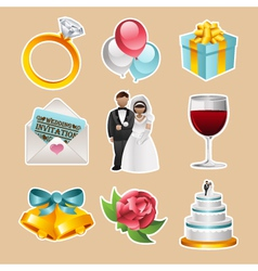 Colorful Wedding Icons vector