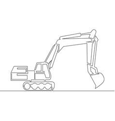 continuous line drawing excavator concept vector image