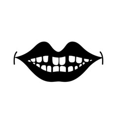 Contour happy mouth with teeth design icon vector