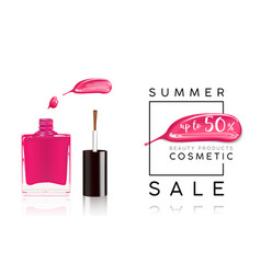 cosmetics sale banner with nail polish and pink vector image