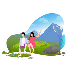 couple sitting on meadow mountain landscape vector image