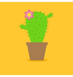 Cute cartoon cactus flower in the pot Flat design vector