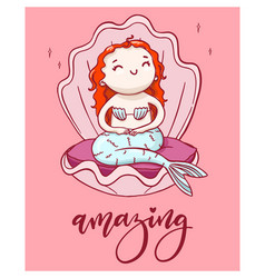 cute cartoon mermaid with handwritten lettering vector image vector image