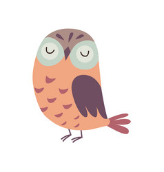 Cute owlet adorable owl bird with closed eyes vector