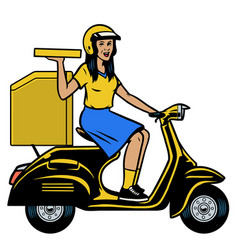 delivery courier lady riding old scooter vector image