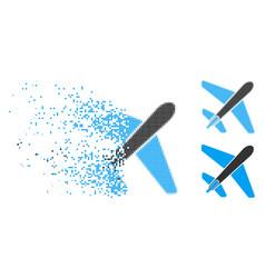 Dispersed pixel halftone jet airplane icon vector