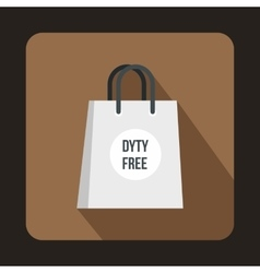 Duty free shopping bag icon flat style vector image