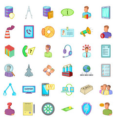 Economy recession icons set cartoon style vector