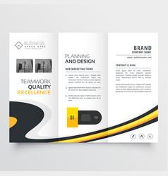 Elegant bright trifold brochure design template vector