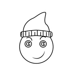 emoji smile in hat icon vector image
