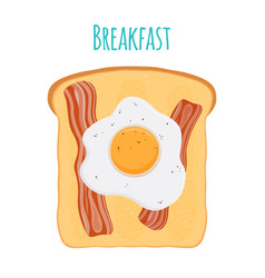 english breakfast - toast egg bacon vector image