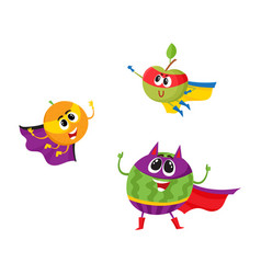 flat fruit characters in mask set vector image
