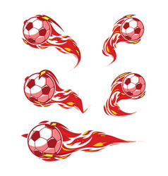 football red fire soccer symbols set vector image