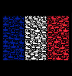 french flag mosaic of crown icons vector image