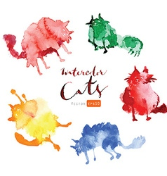 Funny watercolor cats vector