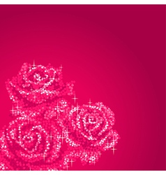Glitter roses pink vector