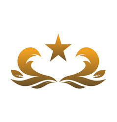 gold leaves star logo icon concept vector image
