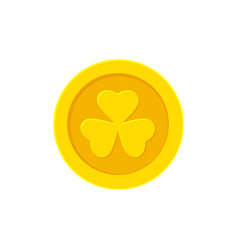 golden coin with clover flat vector image
