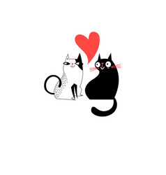 Graphics of enamored cats vector