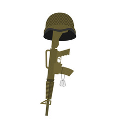 Grave soldier helmet and gun instead of cross vector