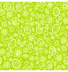 Green Easter doodles seamless pattern vector image