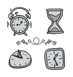hand drawn set doodle clocks and watches vector image