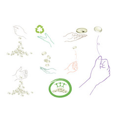 Hand with recycling symbol for save the world vector
