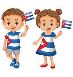 happy boy and girl holding flag of cuba vector image