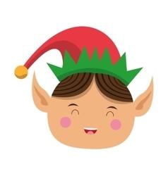happy cute christmas elf icon vector image