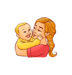 happy mother holding in arms and kissing her vector image