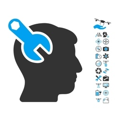 Head Neurology Wrench Icon With Copter Tools Bonus vector