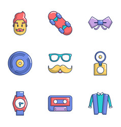 hipster view icons set flat style vector image