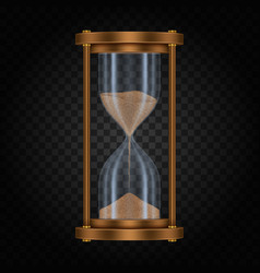 hourglass with sand on transparent vector image