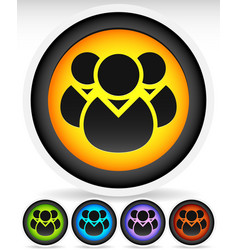 Icon with character symbol icon with group of 3 vector