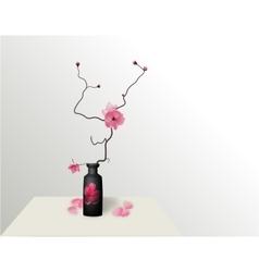 Ikebana Composition Figure Sakura flower On a vector