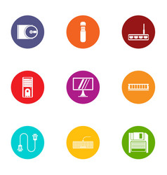 Indication icons set flat style vector