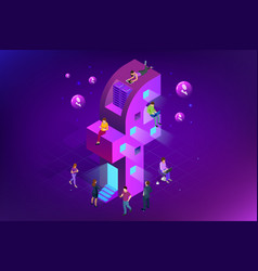 isometric social media or social network concept vector image