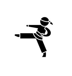 karate black icon sign on isolated vector image
