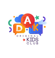 Kids land club logo original creative label vector