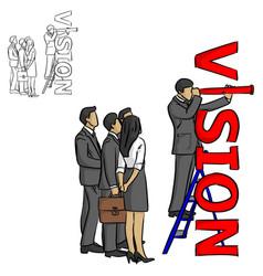 leader businessman standing on ladder vector image