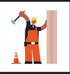 male builder using hammer busy african maerican vector image