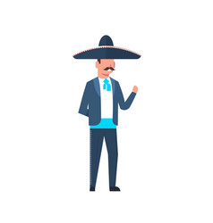 Mexican guy in traditional costume and sombrero vector