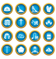miner icons blue circle set vector image