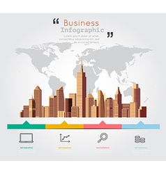 Modern building with business infographic vector image