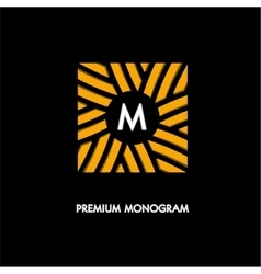 Modern monogram emblem logo Square of the vector image