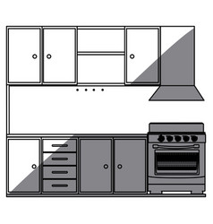 monochrome silhouette of kitchen cabinets with vector image