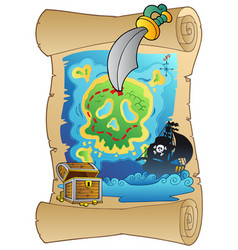 old scroll with pirate map vector image