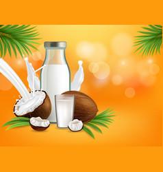 organic non dairy coconut milk poster vector image