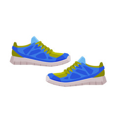 Pair blue athletic shoes fitness and sports vector